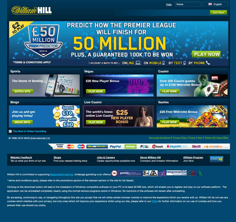 William Hill Homepage, August 2015