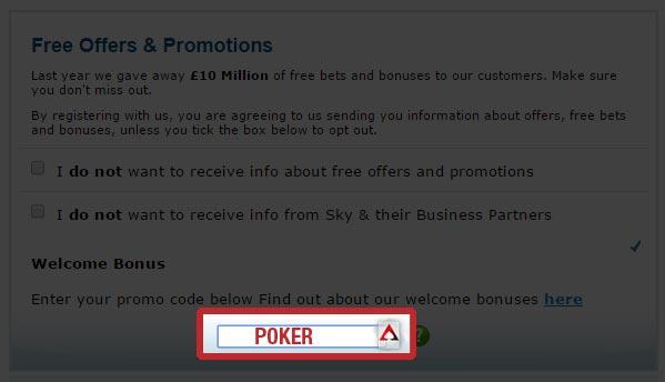 """Sky Poker Promo Code """"POKER"""" for £10 Free"""