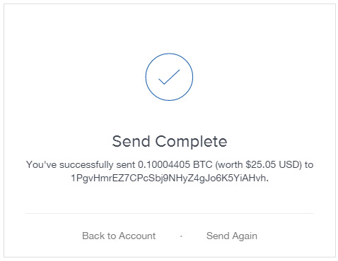 Bitcoin Deposit, Sent from Coinbase