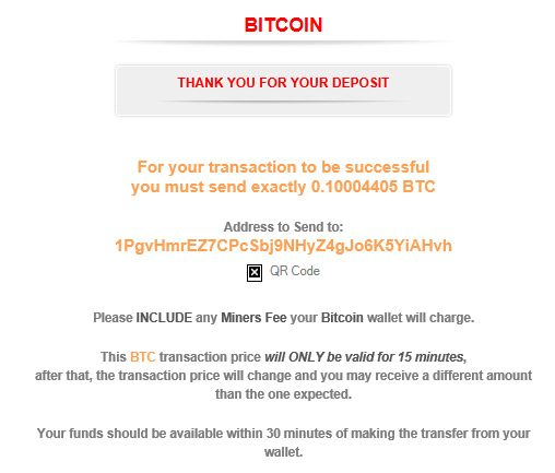 Bitcoin Deposit on ACR Complete