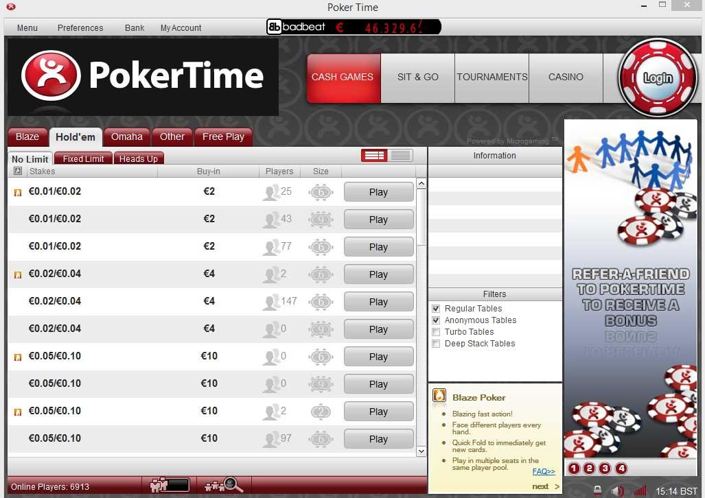 Бездепозитные Бонусы Pokertime